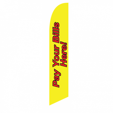 Pay Your Bills Here Feather Flag Yellow 12ft Poly Knit width=