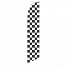Solid Black and White Checkers Feather Flag 12ft Poly Knit