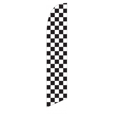 Solid Black and White Checkers Feather Flag 12ft Poly Knit width=
