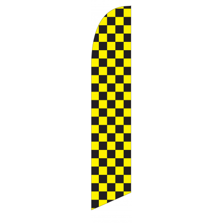 Solid Black and Yellow Feather Flag 12ft Poly Knit width=