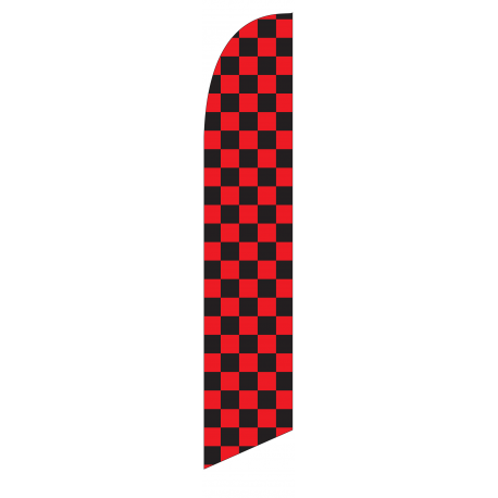 Solid Black and Red Checkers Feather Flag 12ft Poly Knit width=