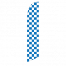 Solid Blue and White Checkers Feather Flag 12ft Poly Knit