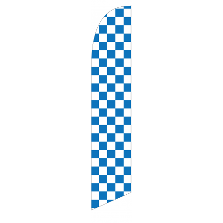 Solid Blue and White Checkers Feather Flag 12ft Poly Knit width=