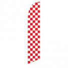 Solid Red and White Checkers Feather Flag 12ft Poly Knit