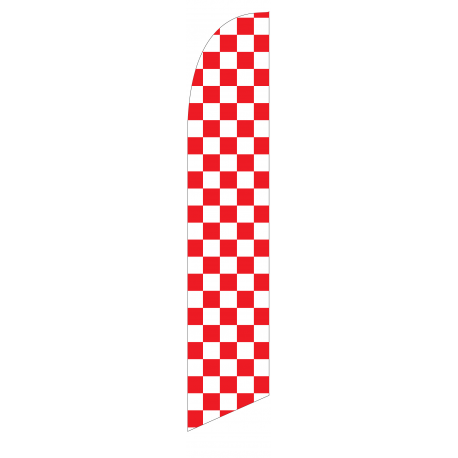 Solid Red and White Checkers Feather Flag 12ft Poly Knit width=