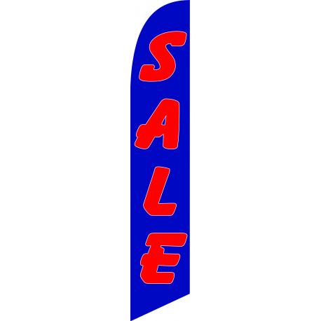 Sale Feather Flag Blue & Red 12ft Poly Knit width=
