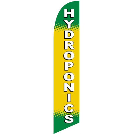 Hydroponics Feather Flag Green & Yellow 12ft Poly Knit width=