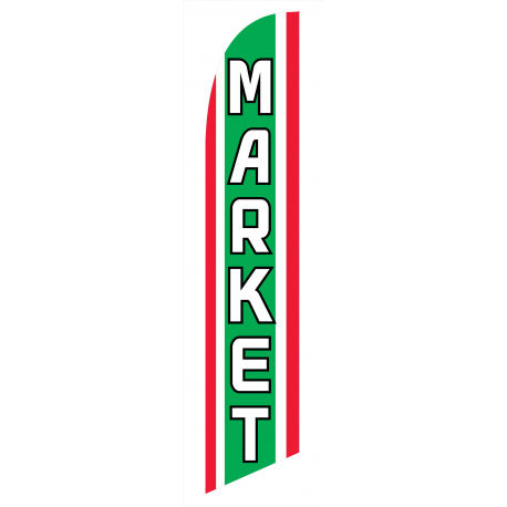 Market Feather Flag Green & White & Red 12ft Poly Knit width=