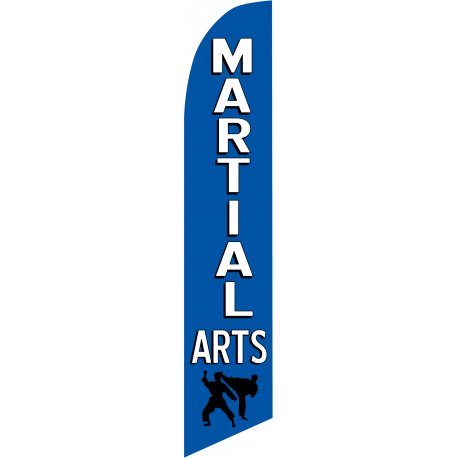 Martial Arts Feather Flag Blue 12ft Poly Knit width=
