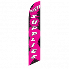 Party Supplies Feather Flag Pink & Black 12ft Poly Knit