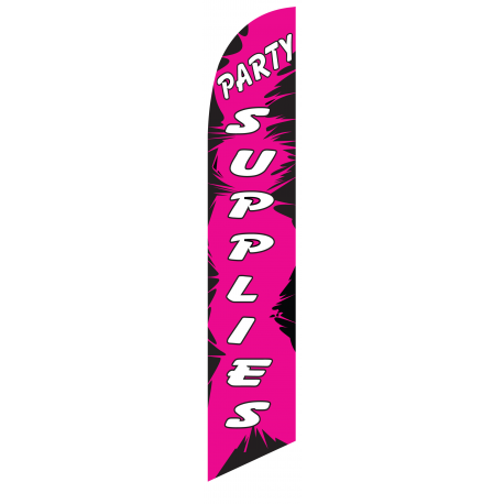 Party Supplies Feather Flag Pink & Black 12ft Poly Knit width=