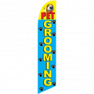 Pet Grooming Feather Flag Blue & Yellow 12ft Poly Knit