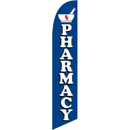 Pharmacy Feather Flag Blue 12ft Poly width=