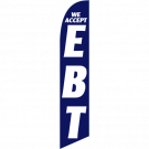 We Accept EBT Feather Flag Blue 12ft Poly Knit