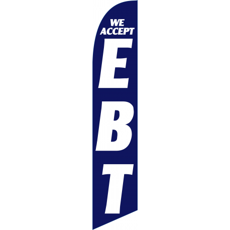 We Accept EBT Feather Flag Blue 12ft Poly Knit width=