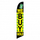 We Buy Gold Feather Flag Black & Yellow 12ft Poly Knit