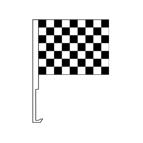 Black And White Clip-On Car Flag. Qty 6 width=