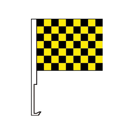 Black And Yellow Clip-On Car Flag. Qty 6 width=