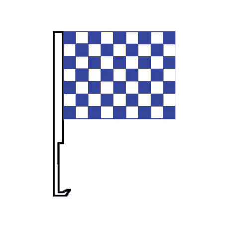 White And Blue Clip-On Car Flag. Qty 6 width=