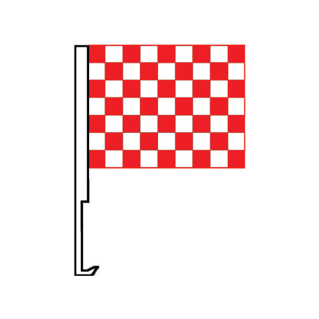 White And Red Clip-On Car Flag. Qty 6 width=