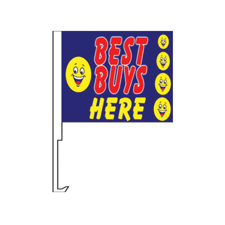 Best Buys Here Clip-On Car Flag. Qty 6 width=