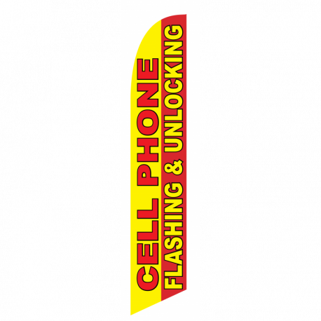 CellPhone Flashing & Unlocking Feather Flag Yellow & Red 12ftPoly Knit width=