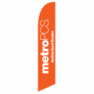 Metro Pcs Authorized Dealer Feather Flag Orange 12ft Poly Knit