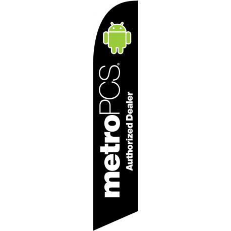 Metro Pcs Authorized Dealer Feather Flag Black 12ft Poly Knit width=