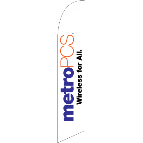 Metro Pcs Wireless For All Feather Flag White 12ft Poly Knit width=