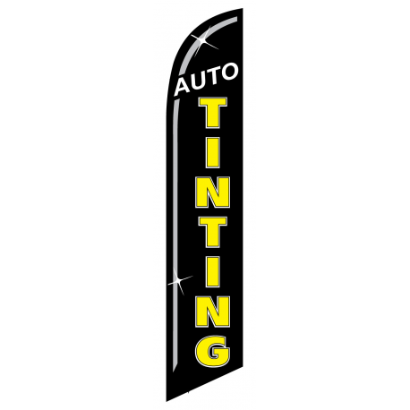 Auto Tinting Feather Flag Black & Yellow 12ft Poly Knit width=