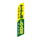 Tittle Loans Feather Flag Yellow & Green 12ft Poly Knit