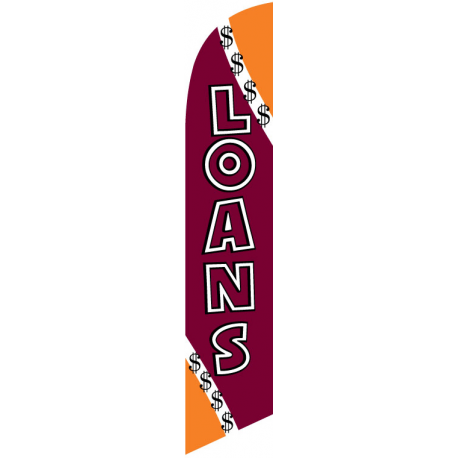 Loans Feather Flag Maroon & Orange 12ft Poly Knit width=