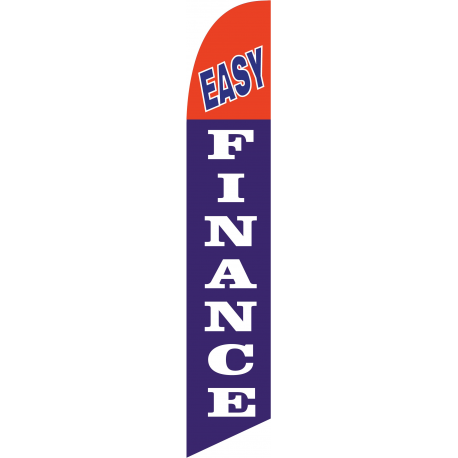 Easy Finance Feather Flag Red & Blue 12ft Poly Knit width=