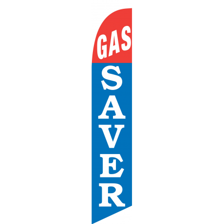 Gas Saver Feather Flag Red & Blue 12ft Poly Knit width=