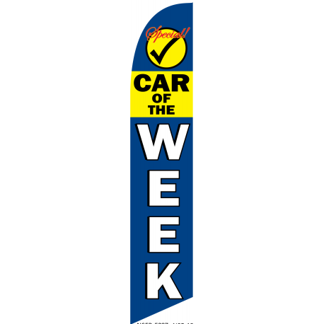 Special Car Of The Week Feather Flag Blue & Yellow 12ft Poly Knit width=