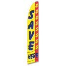 Save Here Feather Flag Yellow & Blue 12ft Poly Knit