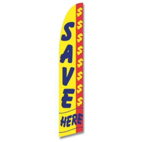 Save Here Feather Flag Yellow & Blue 12ft Poly Knit width=