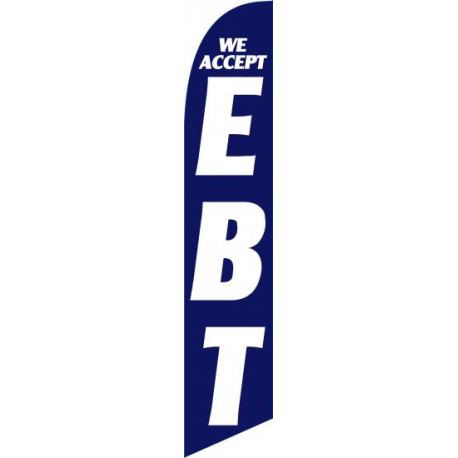 We Accept E B T feather flag Blue-White width=