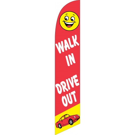 Walk In Drive Out Feather Flag Red & Yellow 12ft Poly Knit width=