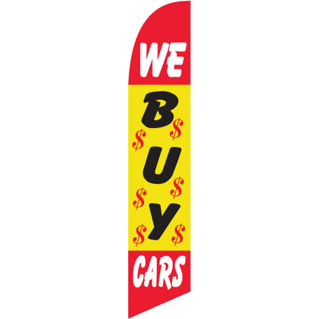 We Buy Cars Feather Flags Red & Yellow 12ft Poly Knit width=