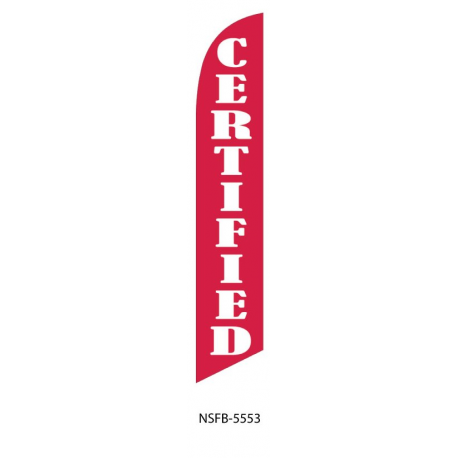 Certified Feather Flag Red & White 12ft Poly Knit width=