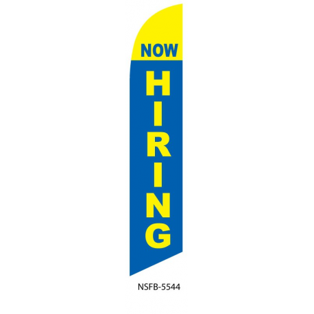 Now Hiring Feather Flag Blue & Yellow 12ft Poly Knit width=