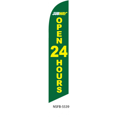Subway Open 24 hours Feather Flag 12ft Poly Knit width=