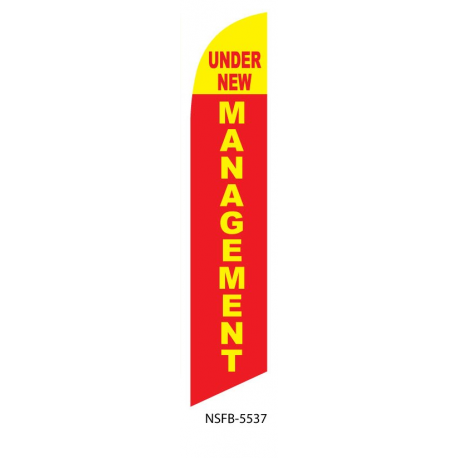 Under New Management Feather Flag Red & Yellow 12ft Poly Knit width=