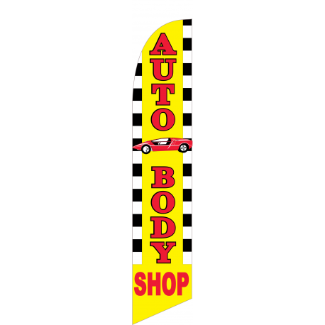 Auto Body Shop Feather Flag Yellow 12ft Poly Knit width=