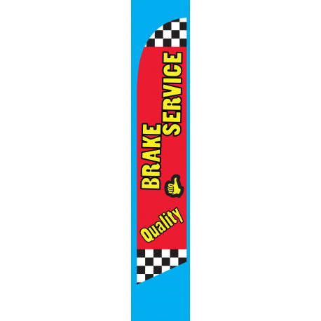 Quality Brake Service Feather Flag Red 12ft Poly Knit width=