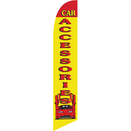 Car Accessories Feather Flag Yellow & Red 12ft Poly Knit width=