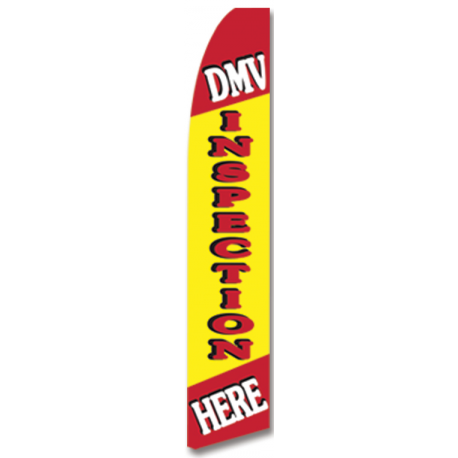 DMV Inspection Here feather flag yellow width=