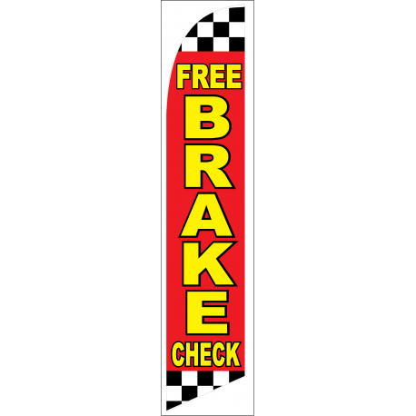 Free Brake Check Feather Flag Red Checkered 12ft Poly Knit width=