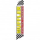 Muffler Catalytic Converter Feather Flag White Checkered 12ft Poly Knit